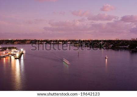 Florida Intracoastal Waterway at Fort Lauderdale at Dawn - stock photo