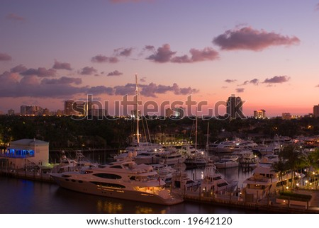 Florida Intracoastal Waterway Marina at Fort Lauderdale at Dawn - stock photo