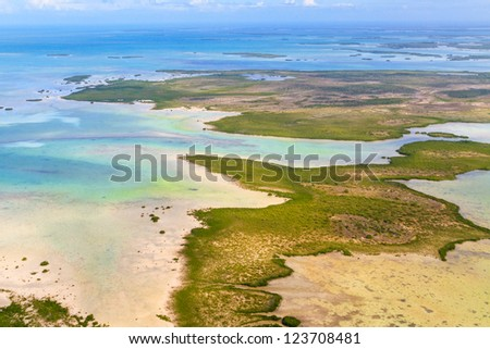 Florida Keys Aerial View from airplane - stock photo