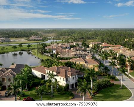 Florida Neighborhood Flyover - stock photo