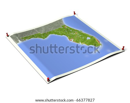 Florida on unfolded map sheet with thumbtacks. Map colored according to vegetation, with borders and major urban areas. Includes clip path for the background. - stock photo