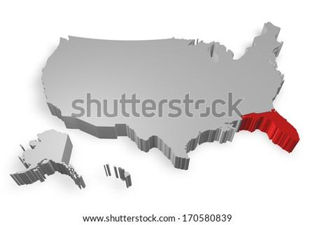 Florida state on Map of USA 3d model on white background
