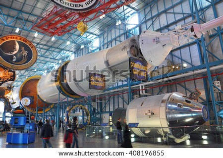 FLORIDA, USA - DEC 20: Saturn V Rocket displayed in Apollo/Saturn V Center, Kennedy Space Center Visitor Complex on Dec. 20, 2010 in Cape Canaveral, Florida, USA. - stock photo