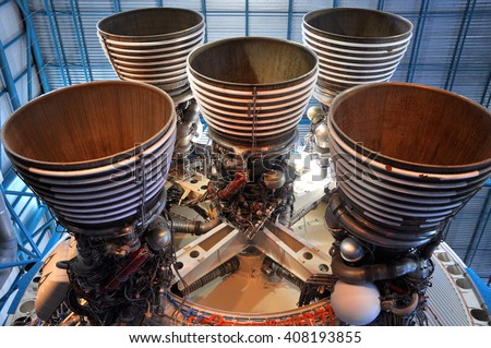 FLORIDA, USA - DEC 20: Saturn V Rocket Engines displayed in Apollo Saturn V Center, Kennedy Space Center Visitor Complex on Dec. 20, 2010 in Cape Canaveral, Florida, USA. - stock photo