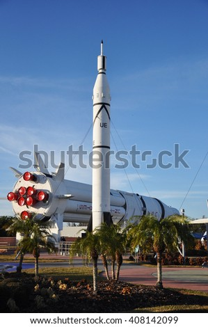 FLORIDA, USA - DEC 20: Saturn V rocket model in Kennedy Space Center Visitor Complex on Dec. 20, 2010 in Cape Canaveral, Florida, USA.  - stock photo