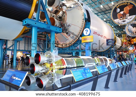 FLORIDA, USA - DEC 20: Saturn V Rocket stage II displayed in Apollo/Saturn V Center, Kennedy Space Center Visitor Complex on Dec. 20, 2010 in Cape Canaveral, Florida, USA. - stock photo
