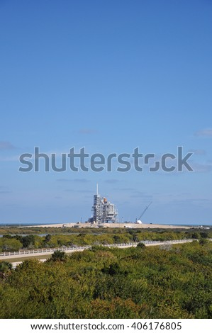 FLORIDA,USA - DEC 20: Space Shuttle Discovery on the Launch Pad prepare for her last mission (STS-133), Kennedy Space Center on Dec. 20, 2010 in Cape Canaveral, Florida, USA. - stock photo