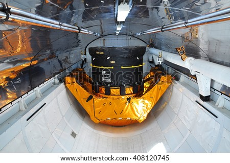 FLORIDA, USA - DEC 20: Space Shuttle Explorer Cargo Bay. Explorer is a life-size replica of the Space Shuttle at Kennedy Space Center on Dec. 20, 2010 in Cape Canaveral, Florida, USA. - stock photo