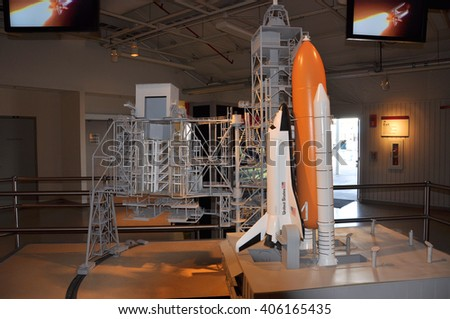 FLORIDA,USA - DEC 20: Space shuttle model in Kennedy Space Center Visitor Complex on Dec. 20, 2010 in Cape Canaveral, Florida, USA. - stock photo