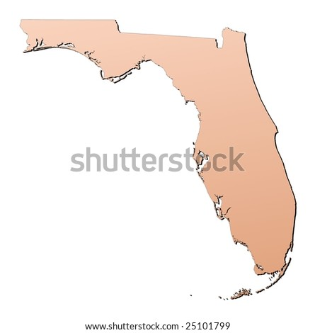 Florida (USA) map filled with brown gradient. Mercator projection. - stock photo