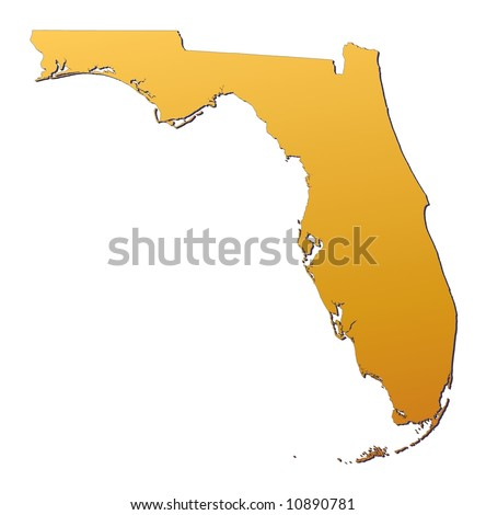 Florida (USA) map filled with orange gradient. Mercator projection. - stock photo
