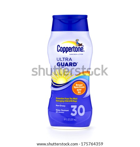 FLORIDA, USA - OCTOBER 15, 2012: Coppertone brand SPF 30 Ultra Guard sunscreen lotion isolated on white background. - stock photo