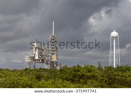 FLORIDA, USA, 13th August 2015, Launch pad 39 at Cape Canaveral, Kennedy Space Center with blue cloudy sky background. Elements of this image furnished by NASA. - stock photo