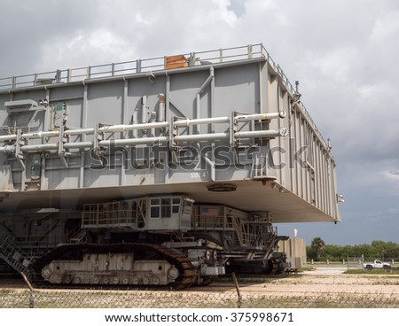 FLORIDA, USA, 13th August 2015, Transporter, Crawler at Cape Canaveral, Kennedy Space Center with blue cloudy sky background. Elements of this image furnished by NASA.  - stock photo