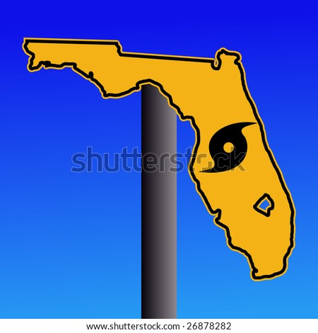 Florida warning sign with hurricane symbol on blue illustration JPEG