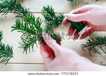 Florist at work: How to make fir garland using jute string and wire. Step by step, tutorial.