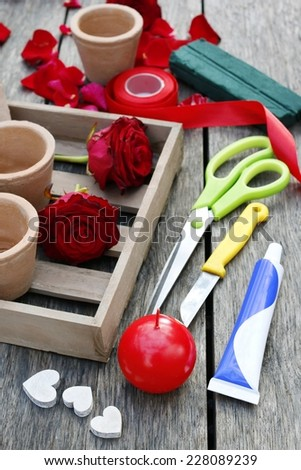 Florist at work: How to make floral valentines arrangement  - stock photo