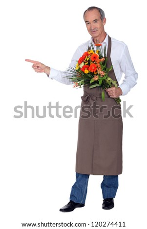 Florist indicating the place