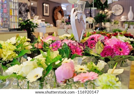 florist shop with beautiful flowers