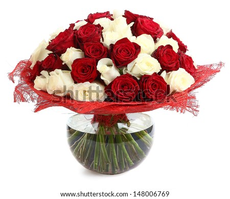 Floristic arrangement of white and red roses. Floral compositions of red and white roses. The isolated image on a white background. Roses in a Glass Vase - stock photo