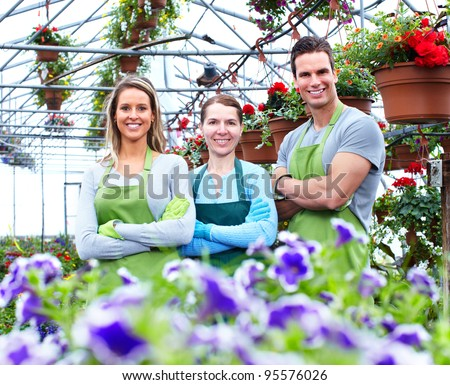 Florists group working with flowers at a greenhouse. - stock photo