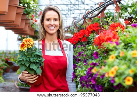 Florists woman working with flowers at a greenhouse. - stock photo