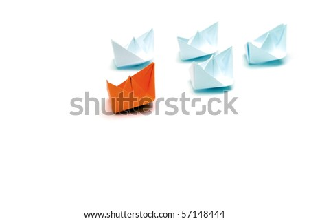 Flotilla of the paper ships led by the red ship