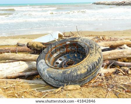 Flotsam on the beach - stock photo