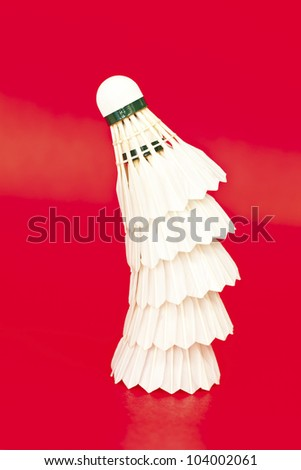 Flounce for game in badminton on a red background