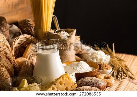 Flour, Bread, Bakery. - stock photo