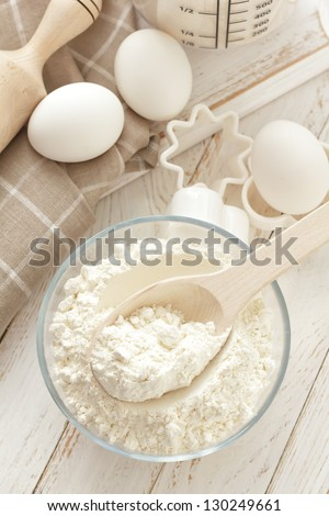 Flour, eggs and sugar