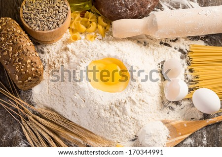 flour, eggs, wheat still-life. Enjoy homemade food - stock photo