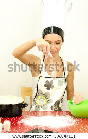 Flour in hands - stock photo