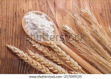 flour in wooden spoon and wheat ears on vintage board food and drink concept  - stock photo
