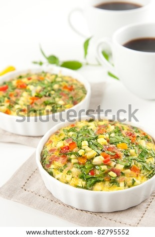 Flour-less Quiche with Spinach, Bacon, Zucchini and Bell Peppers - stock photo