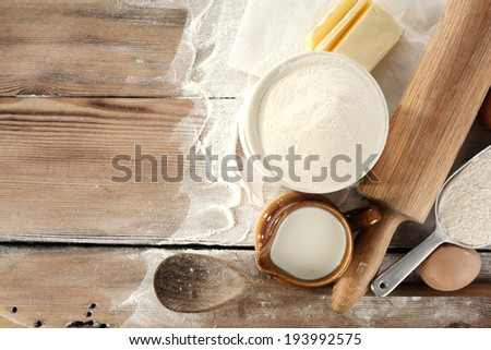 flour milk spoon of wood and egg  - stock photo