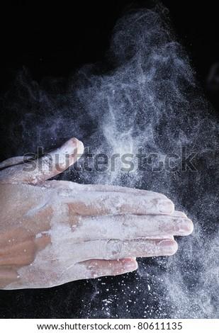 flour on air - stock photo