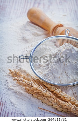 flour sieve wheat ears roling pin food and drink concept  - stock photo
