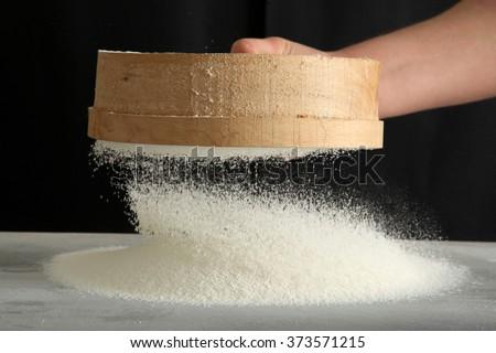 flour sieved  - stock photo