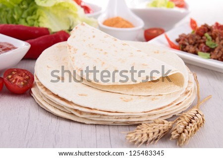 flour tortilla and ingredient - stock photo