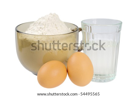 Flour, water and eggs. Ingredients for the dough. Isolated on white