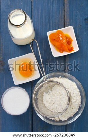 flour with egg and milk