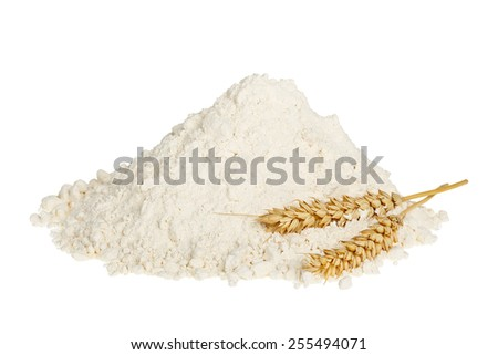 flour with wheat ear isolated on white