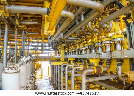 Flow line production and control valve for oil and gas process, Petroleum construction on offshore wellhead remote platform, Energy and petroleum industry, Oil and gas or Petroleum is major of world. - stock photo