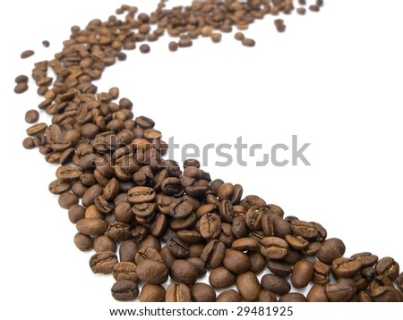 flow of coffee beans. coffee beans isolated on white.