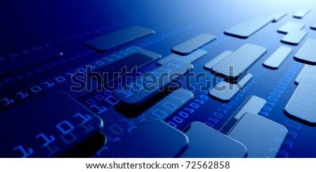 flow of digital information in cyberspace - stock photo