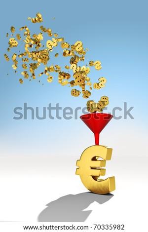 Flow of dollars into Euro - stock photo