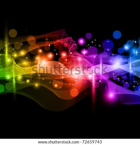Flow of lights with Rainbow Colours Background for Alternative Business Flyer - stock photo