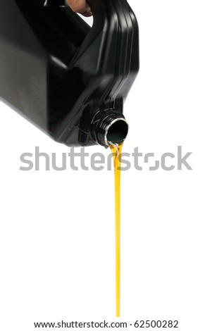flow out machine oil isolated on white - stock photo
