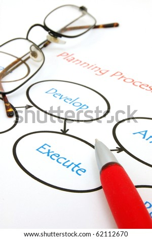 flowchart showing structrue of new business company - stock photo
